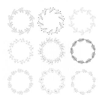 Cadres de couronne dessinés à la main. illustration de cercle botanique.