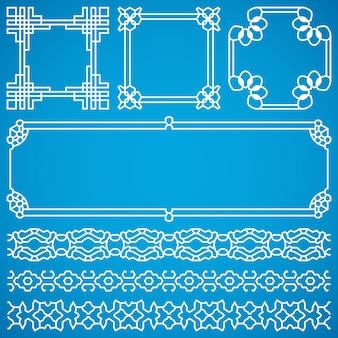 Cadres décoratifs chinois et frontières avec ornement oriental