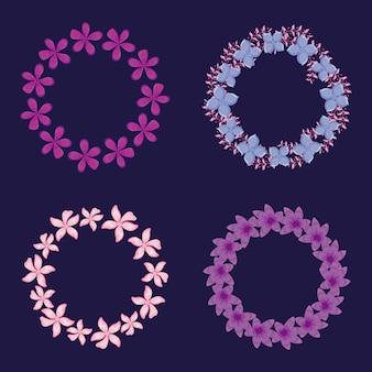 Cadres de décorations florales circulaires