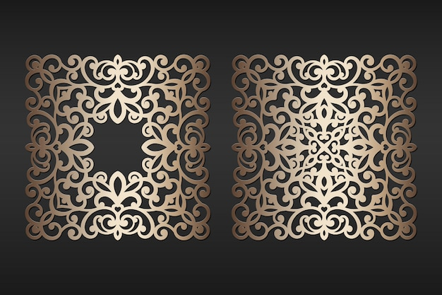 Cadres de dentelle de papier découpé au laser, illustration. cadre photo de découpe ornementale, modèle de coupe. élément pour invitation de mariage et carte de voeux.