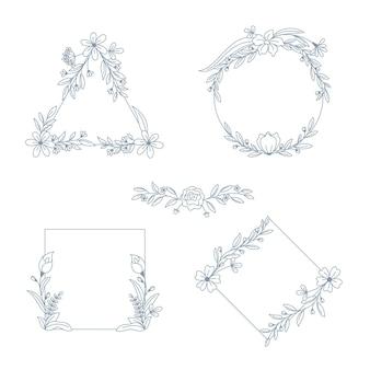 Cadres dessinés à la main avec collection de fleurs
