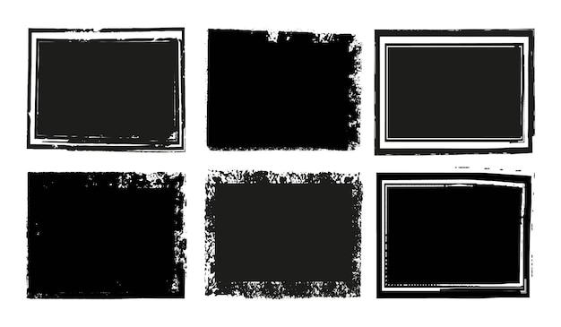 Cadres en détresse grunge noir