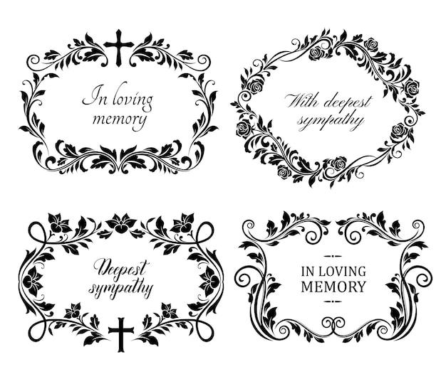 Cadres de deuil funéraire avec roses et fleurs de lys