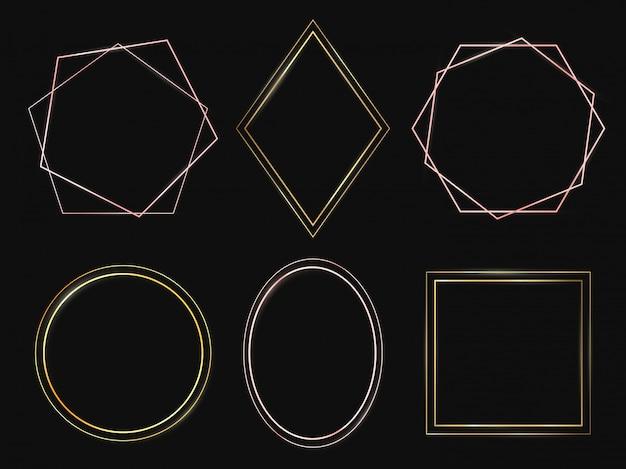 Cadres dorés. cadre en or rose, bordures minces minimalistes premium et ensemble de cercles riches