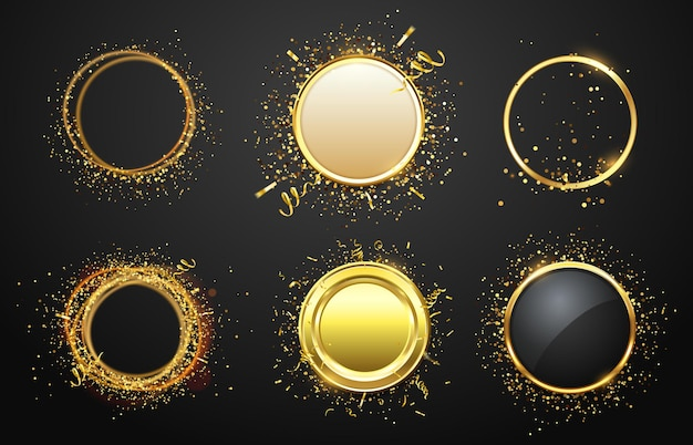 Cadres dorés avec des confettis. bordures éblouissantes et brillantes dans un style luxueux. espace vide pour le texte. cadre de cercle moderne avec des rubans d'or isolés pour illustration vectorielle de publicité