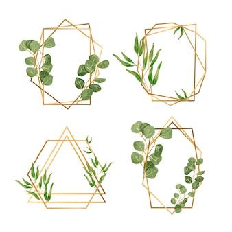 Cadres dorés avec des feuilles pour invitation de mariage
