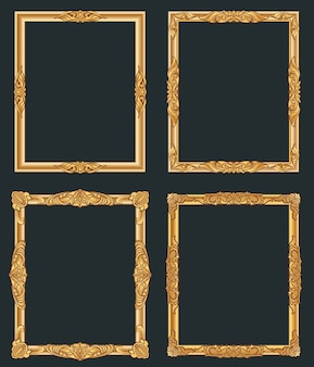 Cadres dorés vintage décoratifs. vieilles frontières d'or de luxe brillant.