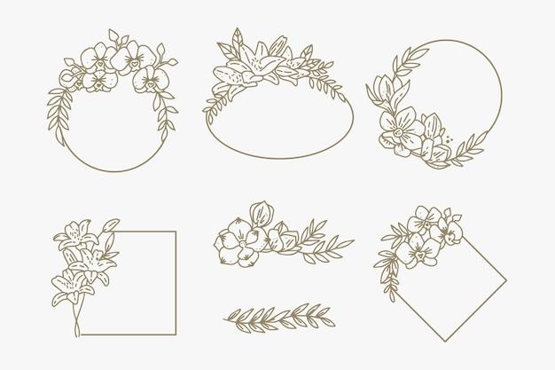 Cadres élégants d'ornement floral