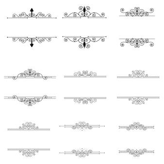 Cadres et éléments de dessin calligraphiques mis en collection vintage vector