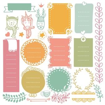 Cadres et éléments dessinés à la main de noël pour journal de balle, cahier, agenda ou agenda.
