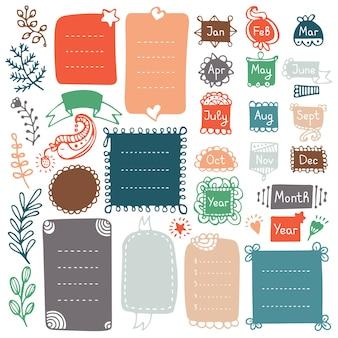 Cadres et éléments de doodle pour bullet journal, cahier, agenda ou planificateur