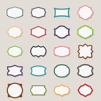 Cadres d'époque. cadres de différentes couleurs dans un style plat. illustration vectorielle