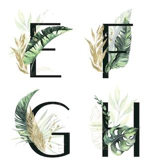 Cadres d'été à l'aquarelle avec des feuilles de palmier séchées tropicales