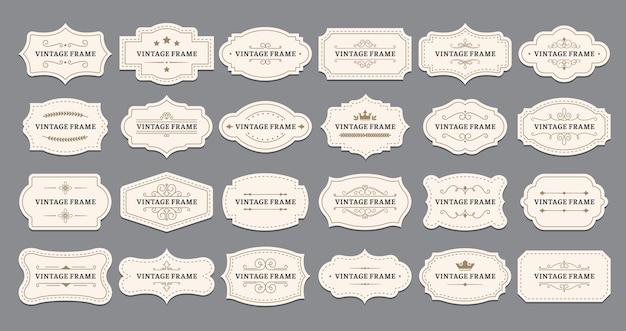 Cadres d'étiquettes ornementales.