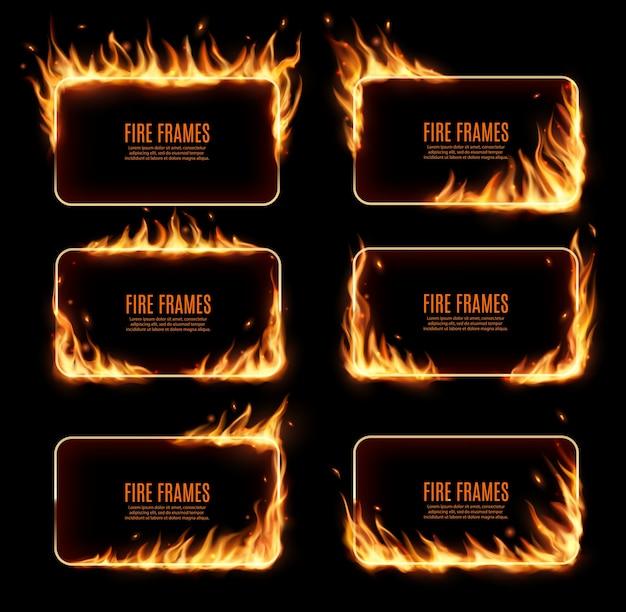 Cadres de feu, bordures brûlantes rectangulaires