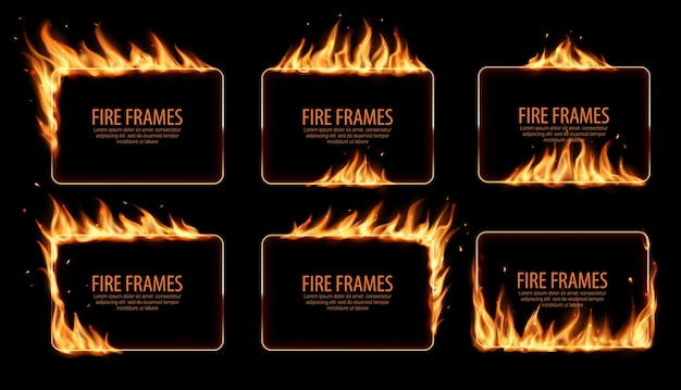 Cadres de feu rectangulaires, bordures brûlantes. langues de flamme brûlantes réalistes avec des particules volantes et des braises sur les bords du cadre rectangulaire. éclater. trous brûlés dans le feu, ensemble de frontières flamboyantes