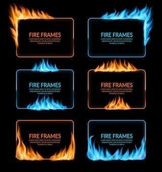 Cadres de flammes au gaz et au feu, bordures rectangulaires vectorielles avec flamme bleue et orange. des langues de flammes rougeoyantes brûlantes réalistes sur les bords du cadre. fusée 3d, trous brûlés, ensemble de frontières flamboyantes isolées