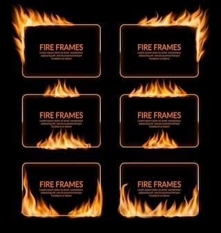 Cadres de flammes brûlantes, bannières et bordures enflammées
