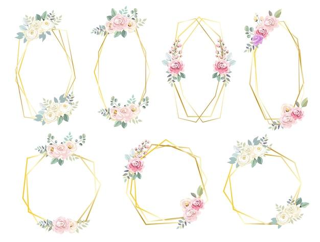 Cadres de fleurs hexagonales pour faire-part de mariage