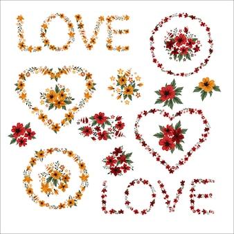 Cadres de fleurs saint valentin, fête des mères