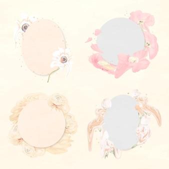Cadres de fleurs vector art abstrait psychédélique fleur pastel