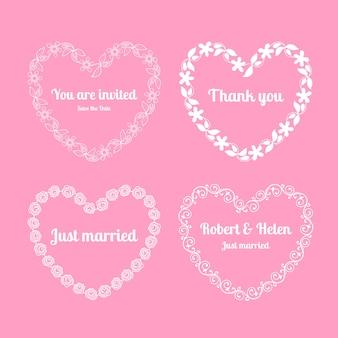 Cadres floraux de coeur pour des invitations de mariage sur le rose