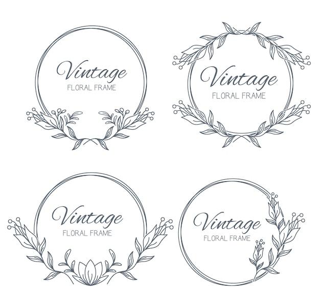 Cadres floraux de collection. décoration unique pour carte de voeux, invitation de mariage