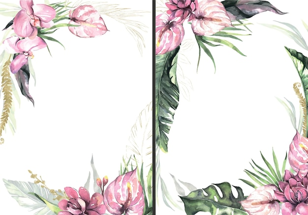 Cadres floraux d'été aquarelle