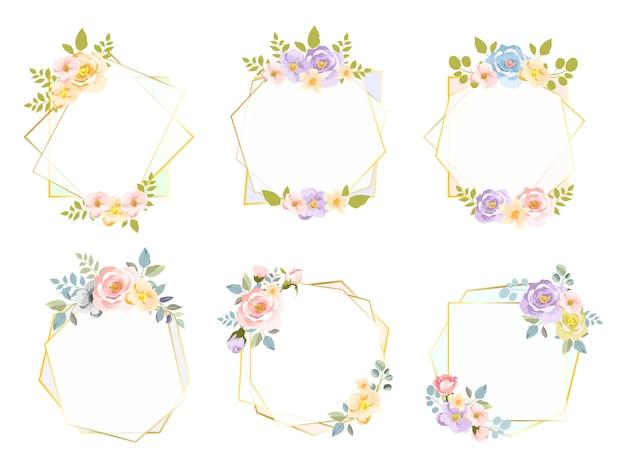 Cadres floraux hexagonaux