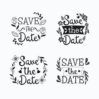 Cadres floraux de lettrage avec enregistrer le texte de mariage de date