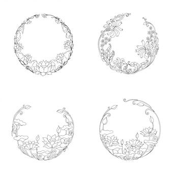 Cadres floraux ronds, croquis dessiné à la main