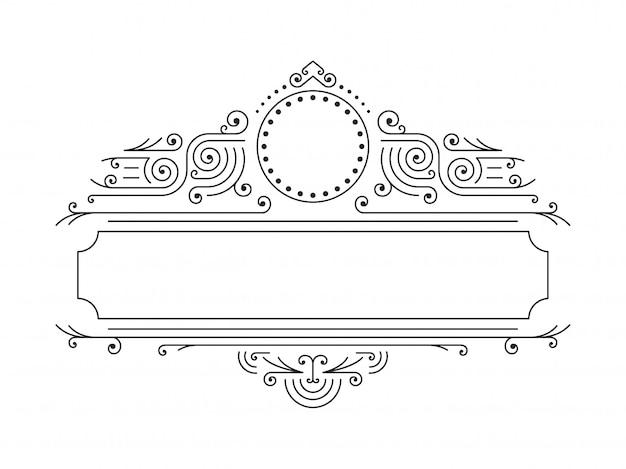 Cadres floraux de vecteur dans le style de ligne mono