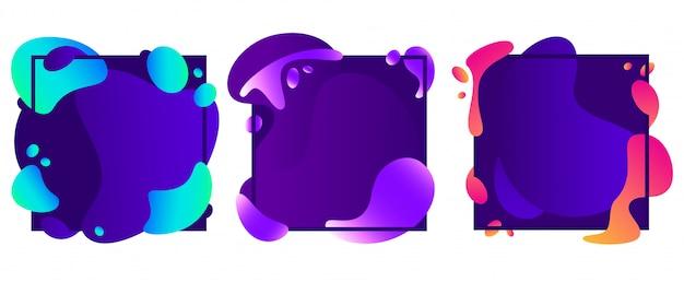 Cadres de formes abstraites. dégradé de fluide moderne, bannière de mouvement de forme liquide et ensemble d'illustration isolé cadre concept abstrait
