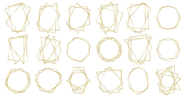 Cadres géométriques dorés.