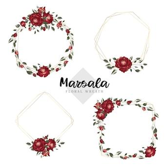 Cadres géométriques de guirlande florale de marsala