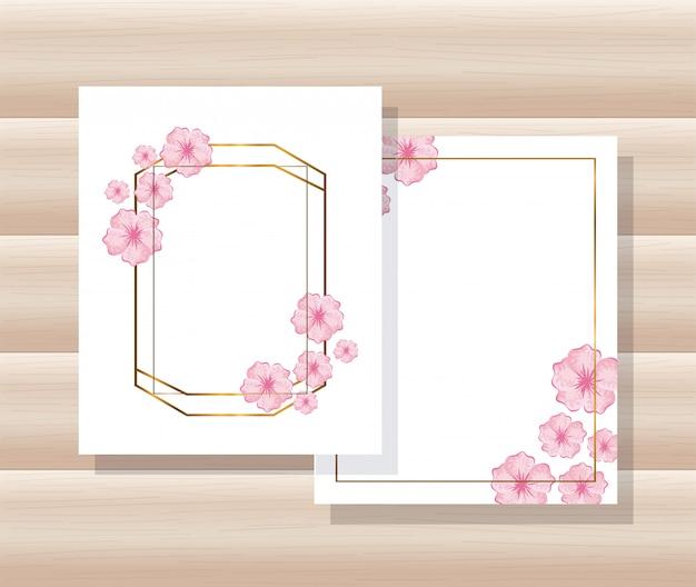 Cadres géométriques de lignes dorées, cartes avec feuilles