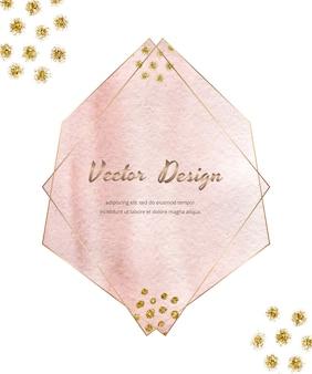 Cadres géométriques de lignes polygonales roses avec aquarelle de coup de pinceau et texture de paillettes d'or, confettis.