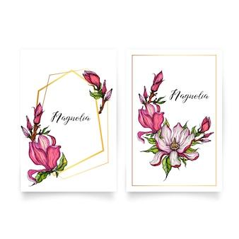Cadres géométriques en or avec des fleurs de magnolia