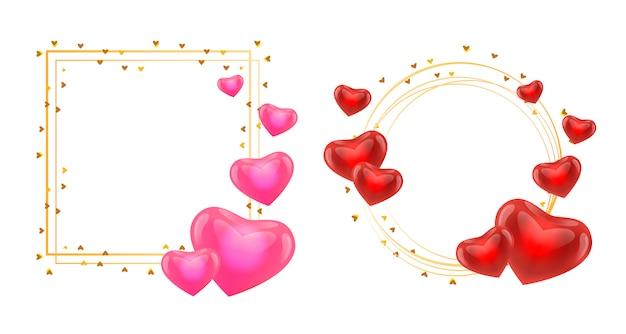 Cadres de guirlande avec coeurs roses et rouges