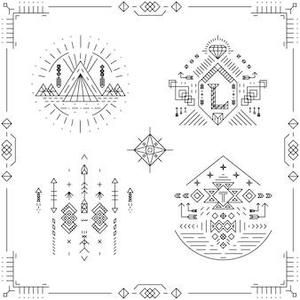 Cadres de hipster vintage de ligne tribale. ornement de bordure, élément de style art.