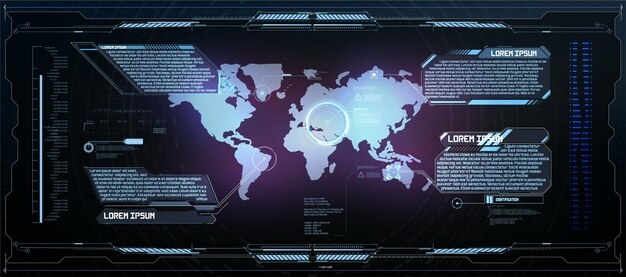 Cadres hud. éléments d'interface utilisateur moderne futuriste, panneau de commande hud. fenêtre d'hologramme numérique d'écran de haute technologie. tableau de bord futuriste sci-fi. technologie de réalité virtuelle. illustration vectorielle