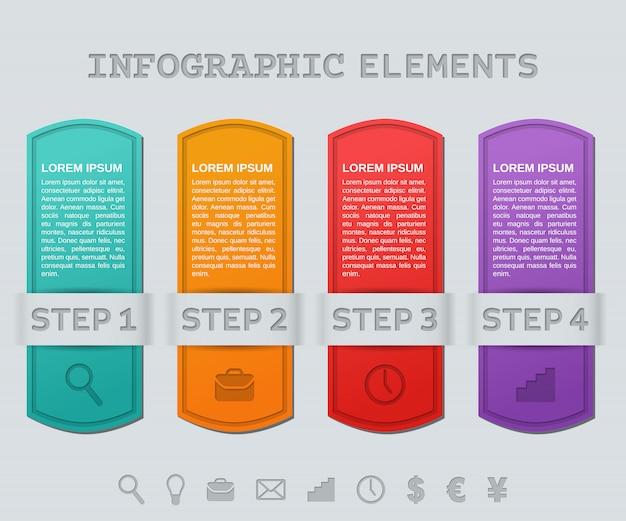 Cadres d'infographie. étapes de modèles infographiques.