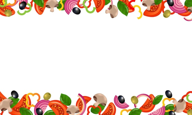 Cadres de légumes sur fond blanc