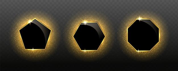 Cadres de luxe dorés géométriques réalistes élégants