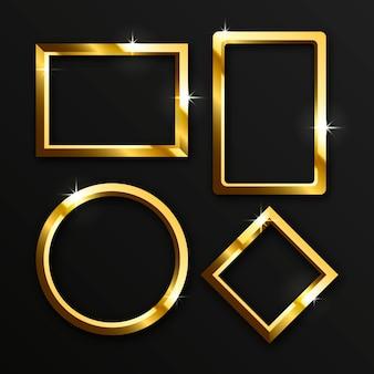 Cadres de luxe dorés réalistes