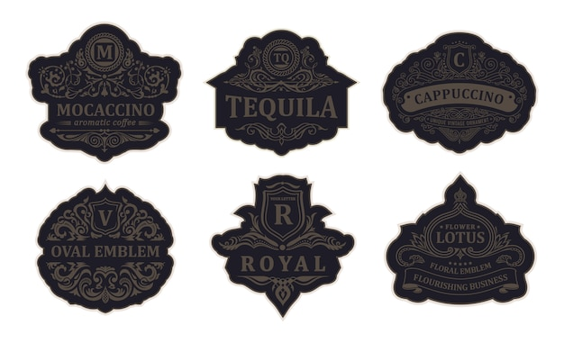 Cadres de luxe logos et emblèmes noirs vintage