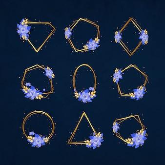 Cadres de mariage de luxe en or avec des fleurs