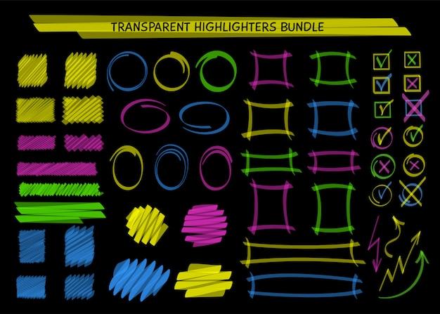 Cadres de marqueur de surbrillance transparents et gribouillage