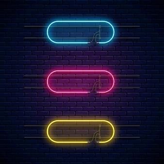Cadres néon lumineux. jeu de bannières lumineuses au néon.
