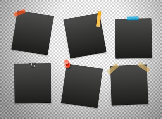 Cadres noirs isolés sur fond transparent. maquette de vecteur